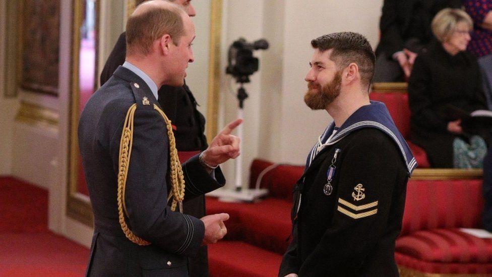 Prince William and Leading Seaman David Groves
