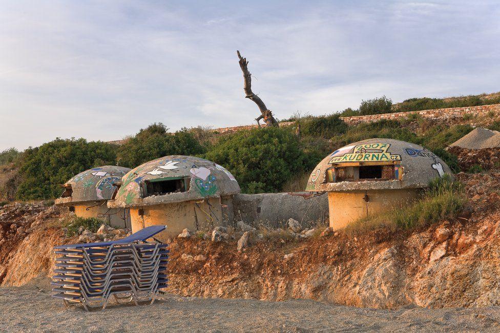 Bunkers in Albania covered in graffiti art