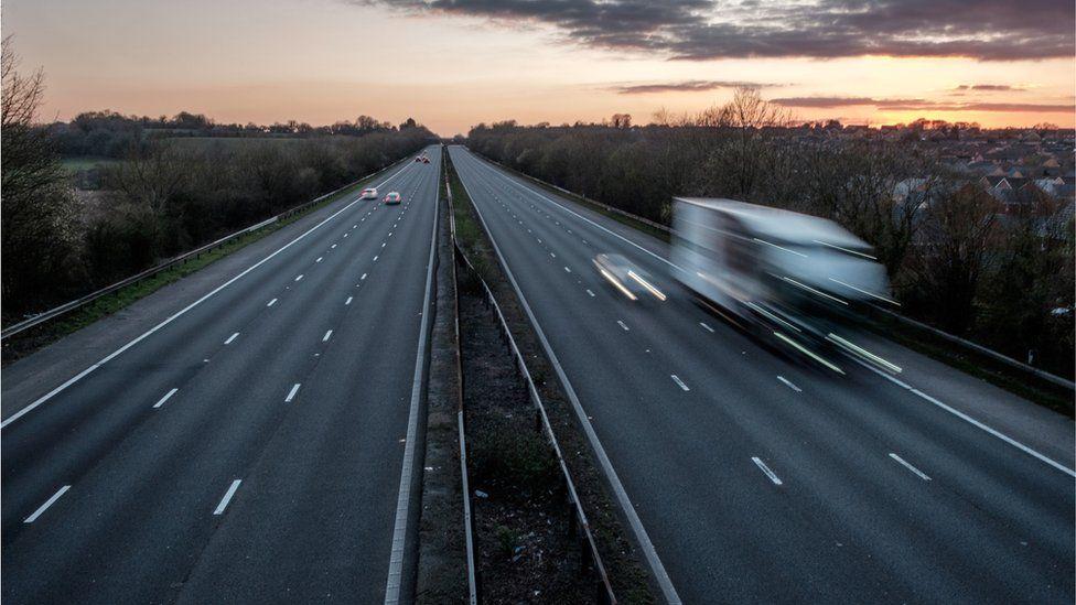 The M4 motorway, almost deserted during coronavirus lockdown last year