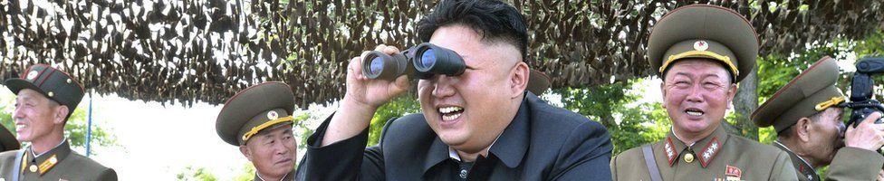 Kim Jong-Un alongside military figures