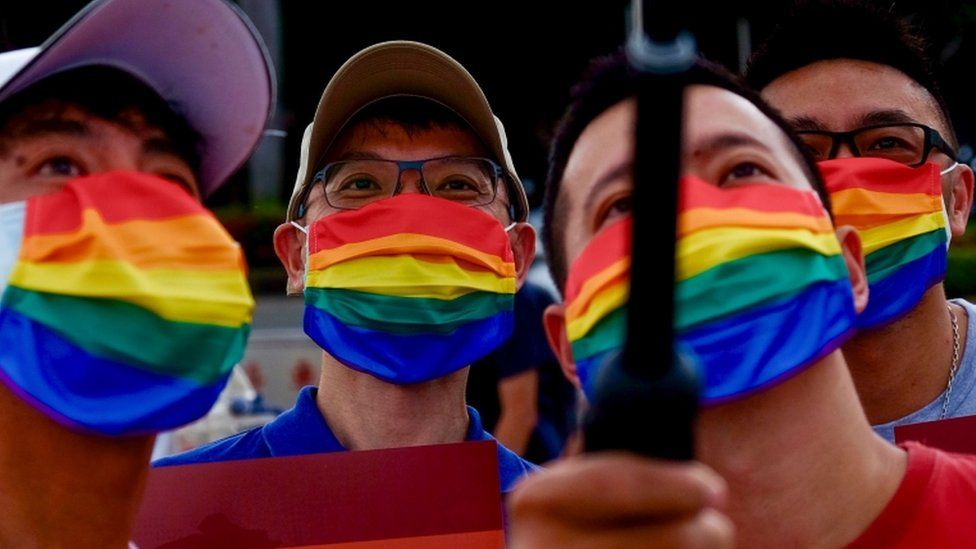 Members of the LGBT community join a march to celebrate the pride month at the National Chiang Kai-shek Memorial Hall in Taipei, Taiwan, 28 June 2020