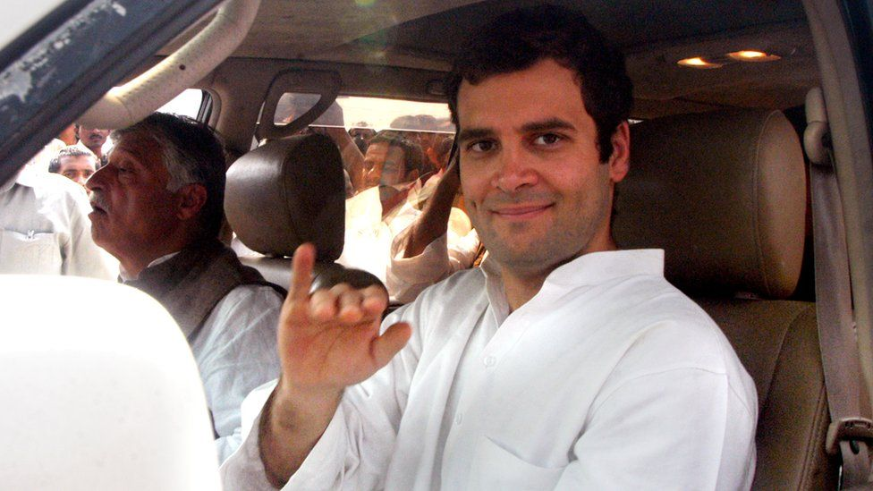 Congress leader and MP Rahul Gandhi during an election campaign rally at Muradnagar, on March 18, 2007 in Ghaziabad, India