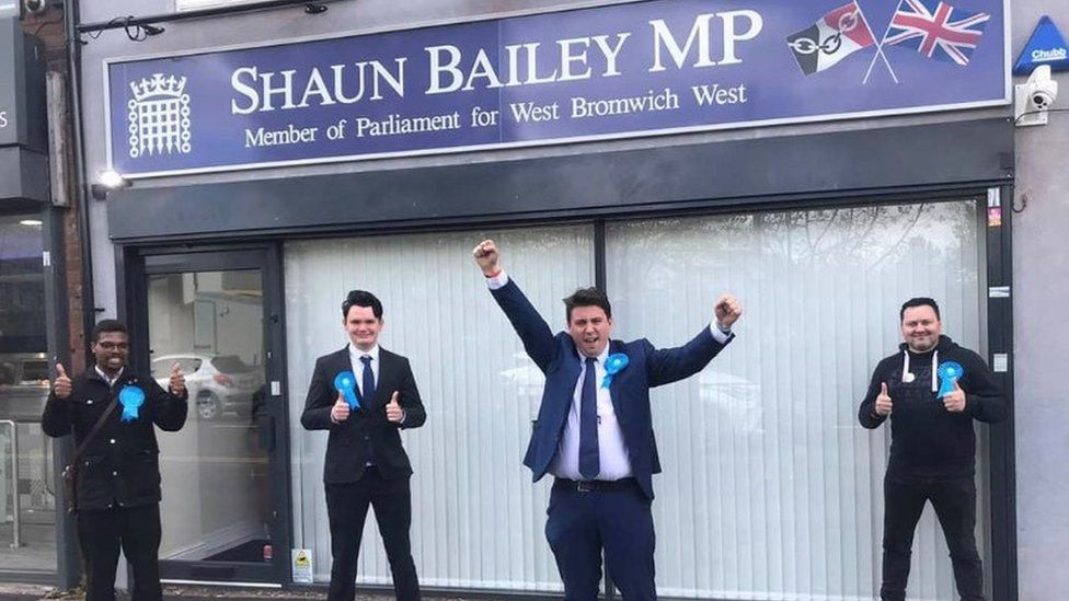 William Gill with fellow Conservatives, including MP Shaun Bailey