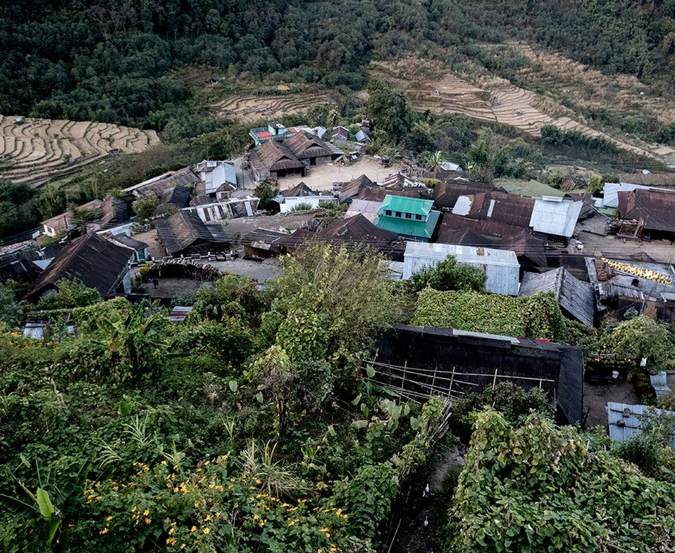 A view of the Khonoma village from a hilltop