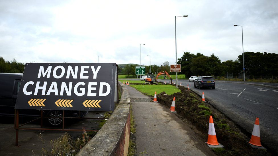 A sign at the Irish border that reads: 'Money changed'
