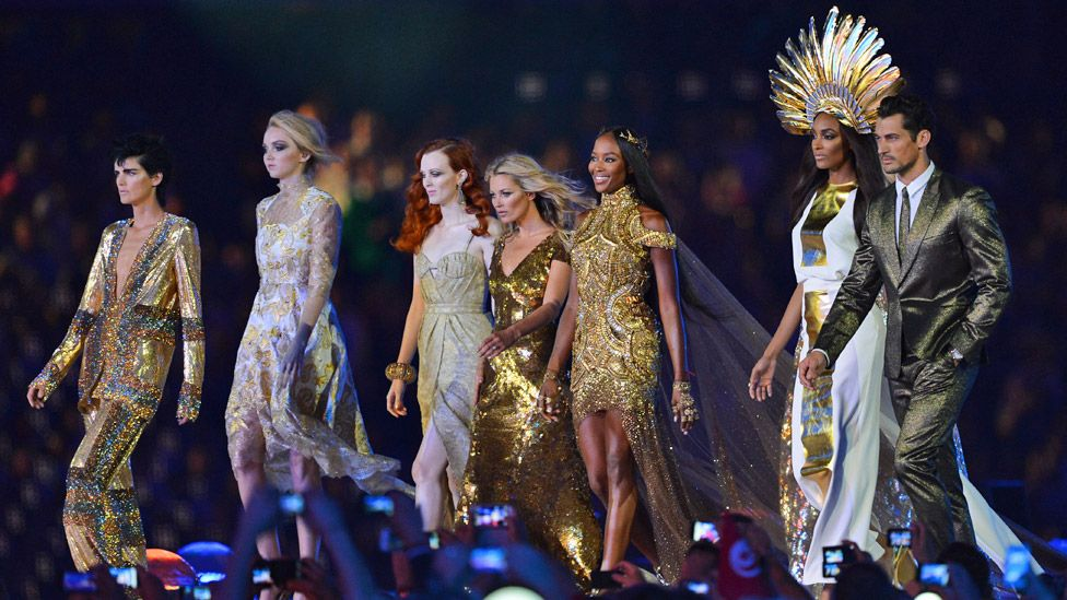 Tennant (left) with Lily Cole, Karen Elson, Kate Moss, Naomi Campbell, Jourdon Dunn and David Gandy at the closing ceremony of the London 2012 Olympic Games