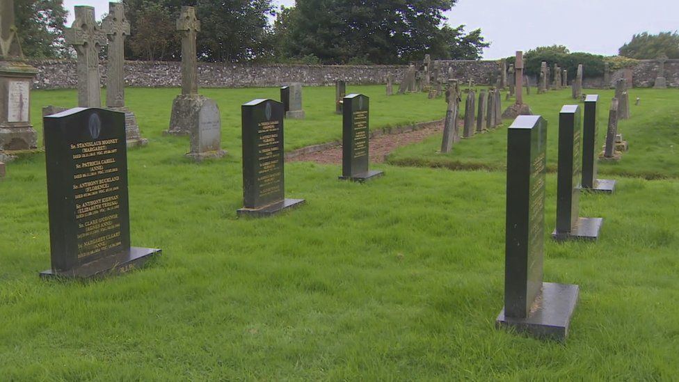 The graves of former nuns lie near the site of the unmarked grave