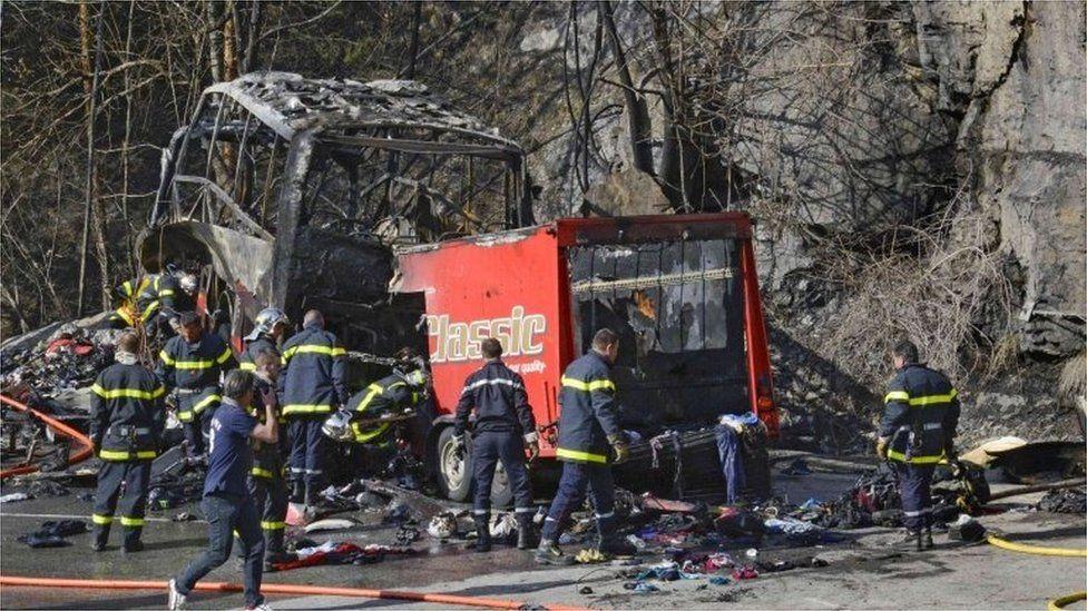 Scene of French Alps coach crash