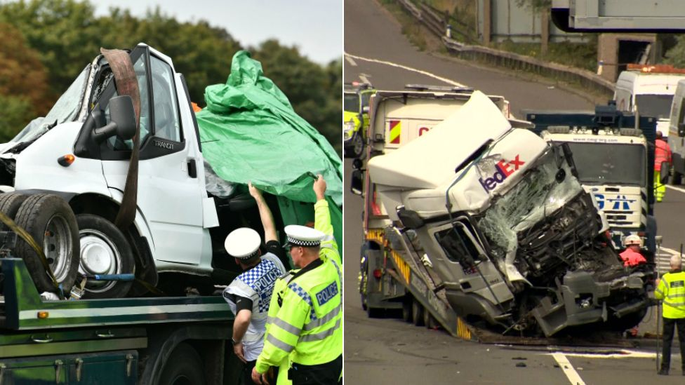 Wreckage of lorry and minibus