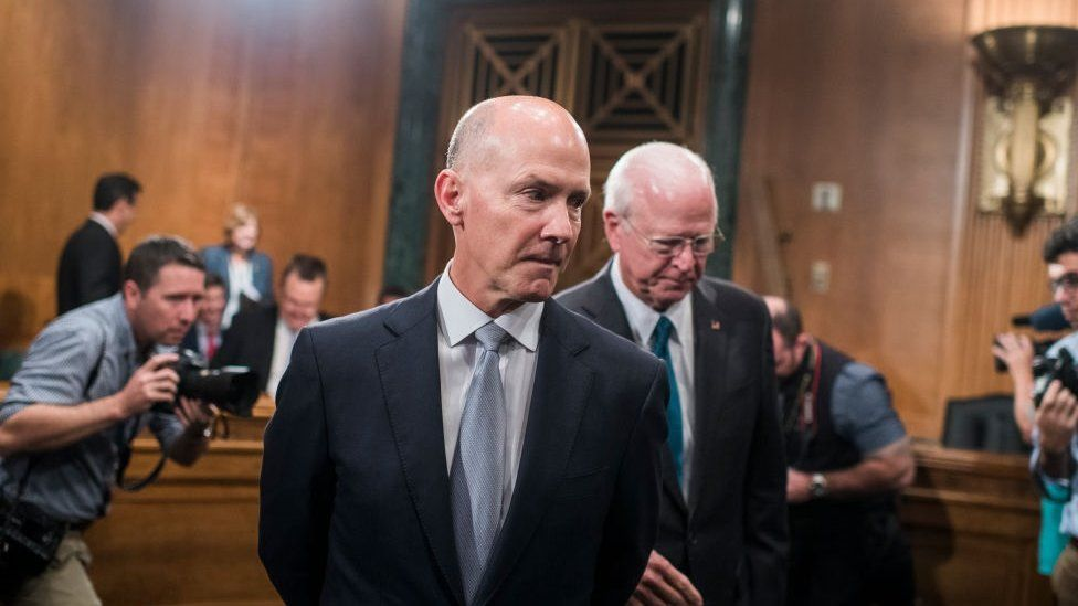 Richard Smith, CEO of Equifax, prepares to testify during a Senate Banking, Housing and Urban Affairs Committee hearing in Dirksen on the company's security breach on October 4, 2017