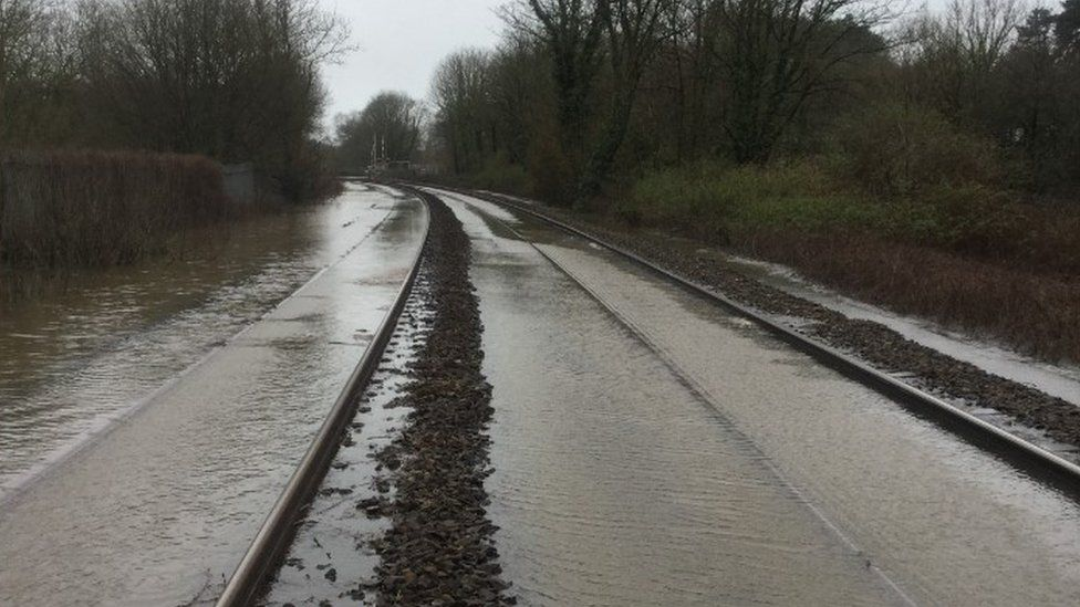 Flooded railway line near St Fagans, south Wales