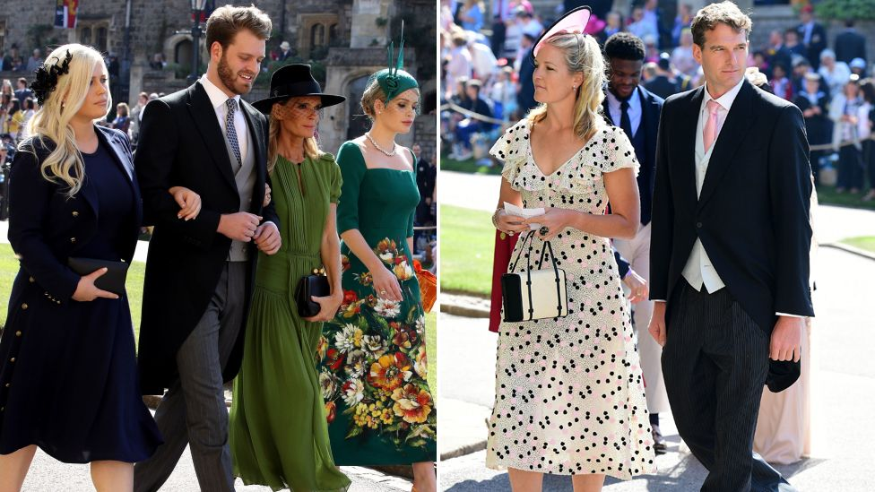 Prince Harry's cousins Eliza Spencer, Louis Spencer, and Kitty Spencer and their mother Victoria Aitken, and Lady Edwina Louise Grosvenor and historian Dan Snow