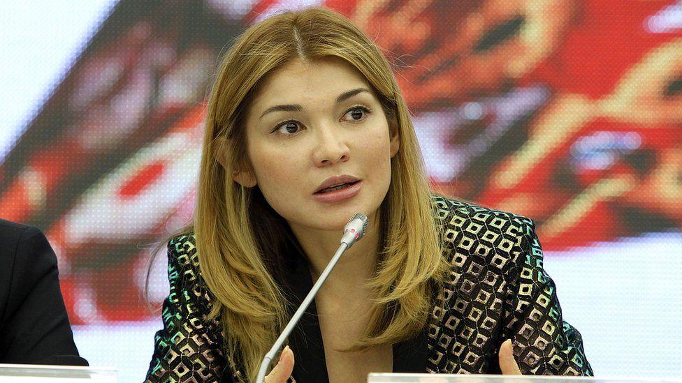 Gulnara Karimova attends a press conference during Style.Uz Art Week, October 22, 2013