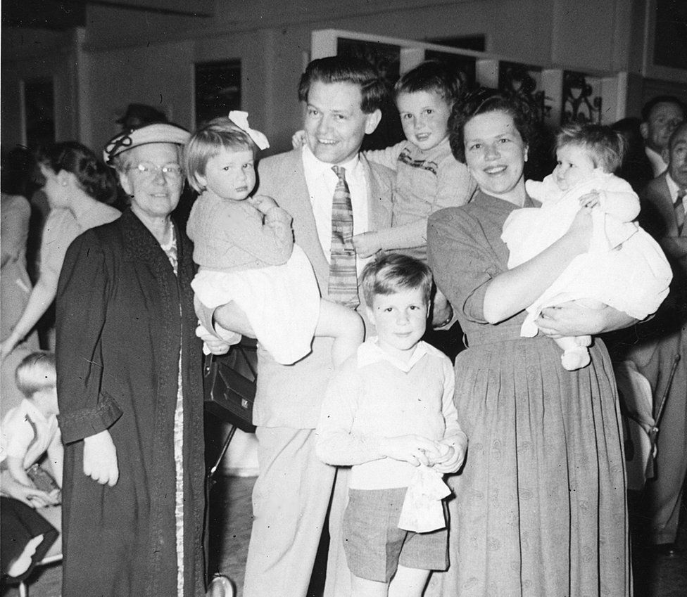 The Warren family pictured in 1958