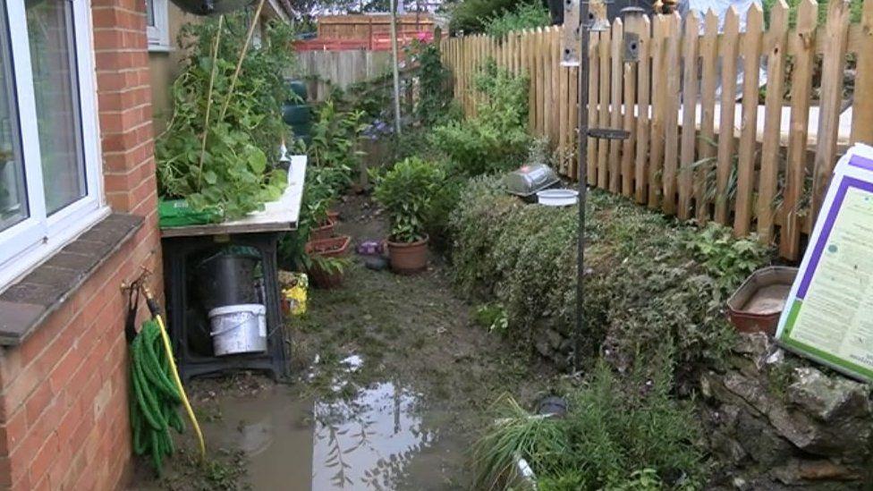 Garden flooded by sewage
