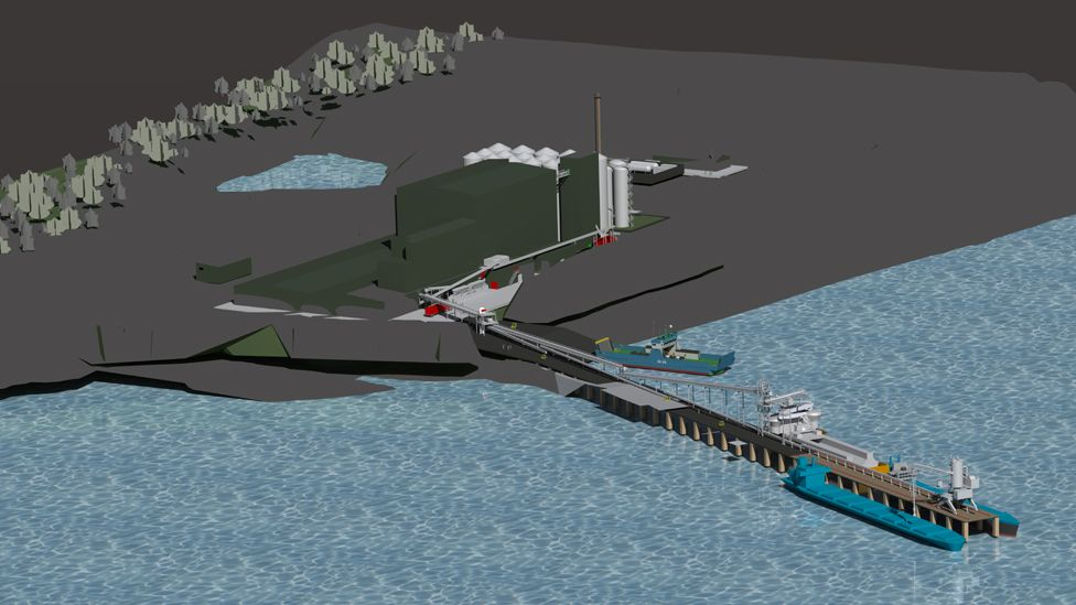 Computer generated image of the proposed feed plant at the Kyleakin Quarry site