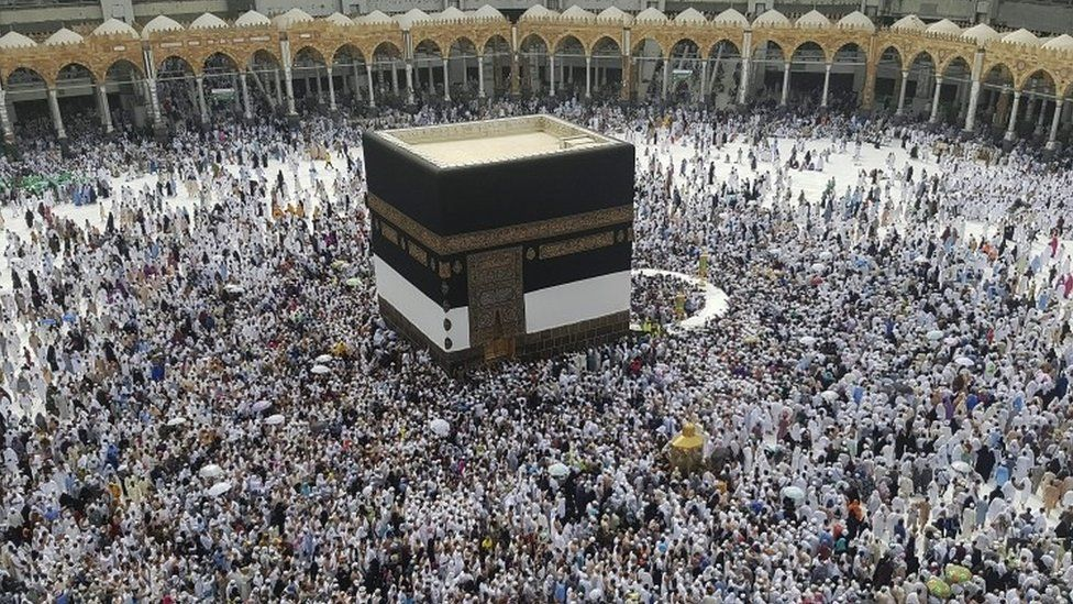Muslim pilgrims circle around the Kaaba at the Masjidil Haram, Islam's holiest site, ahead of Hajj (09 September 2016)