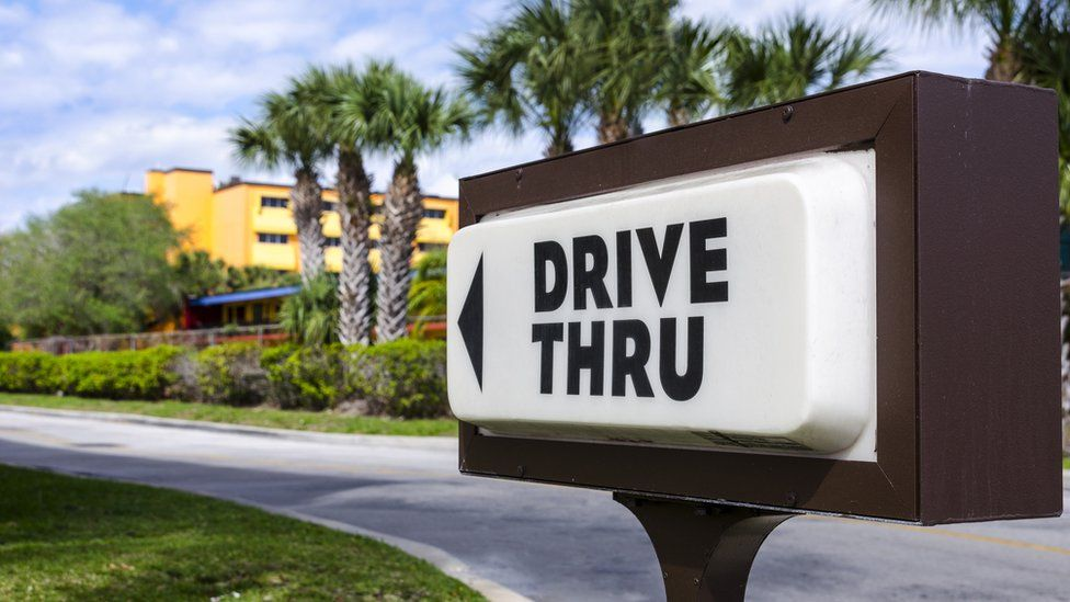 sign for a drive-thru