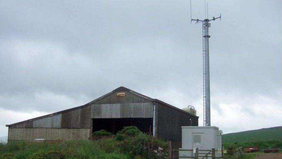 A phone mast serving the Gwaun Valley in Pembrokeshire