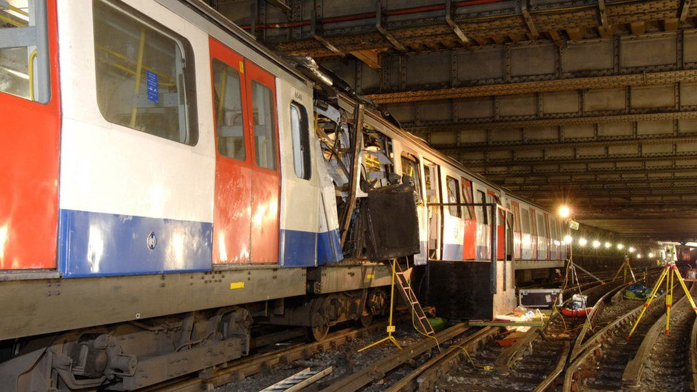 London Underground train damaged in the terrorist bombing