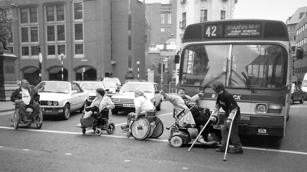 disabled people stopping traffic