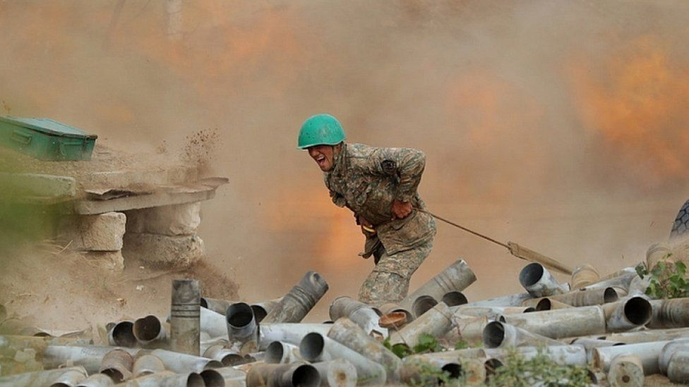 Armenian Defence Ministry photo shows Armenian soldier during clashes with Azerbaijani forces. 30 Sept 2020