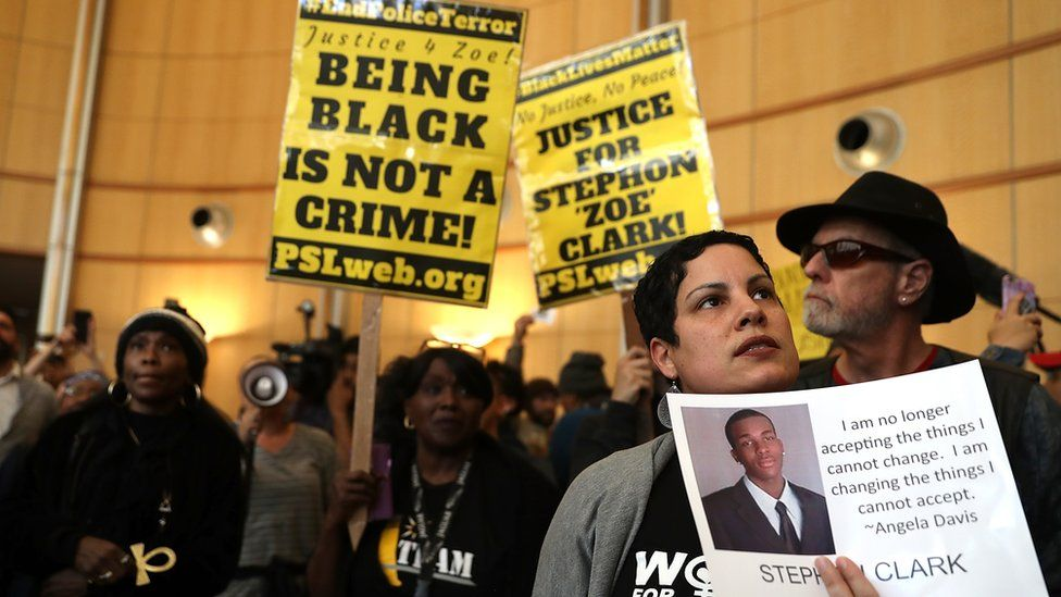 Protesters against the killing of Stephon Clark