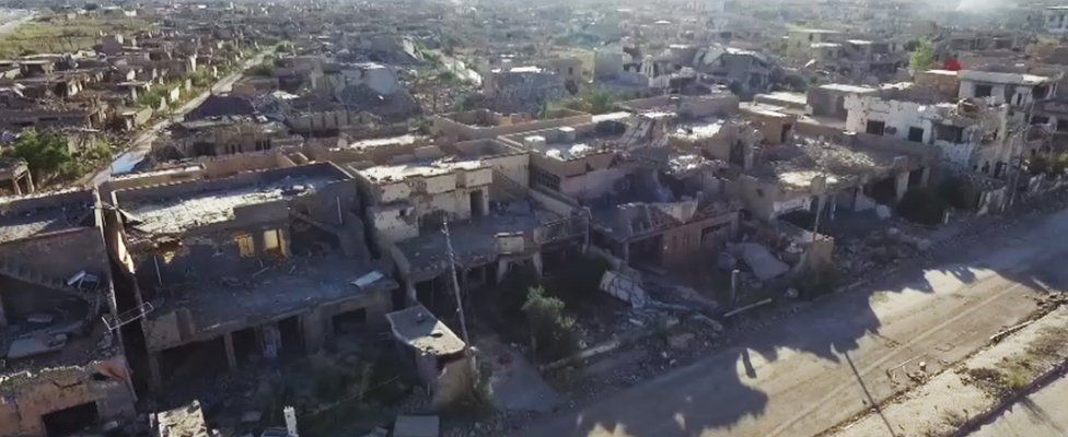 Drone footage from July showing destruction in Ramadi