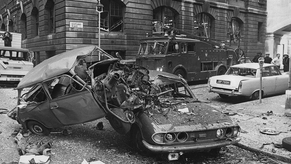 Aftermath of a Provisional IRA bombing in London in 1973