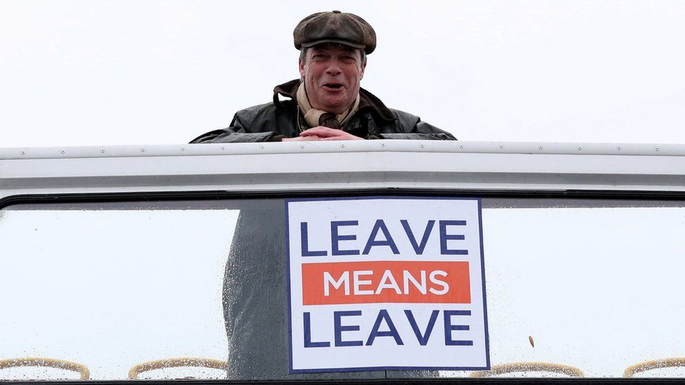 Nigel Farage looking down from the top of a bus at the first leg of the March to Leave demonstration, embarking from Sunderland to Hartlepool