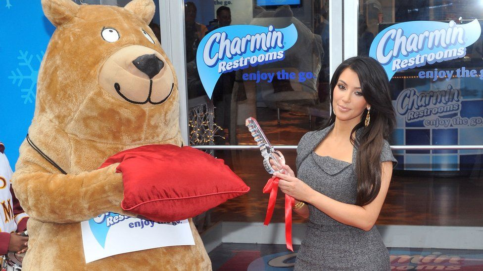 Kim Kardashian at the opening of the Charmin restrooms
