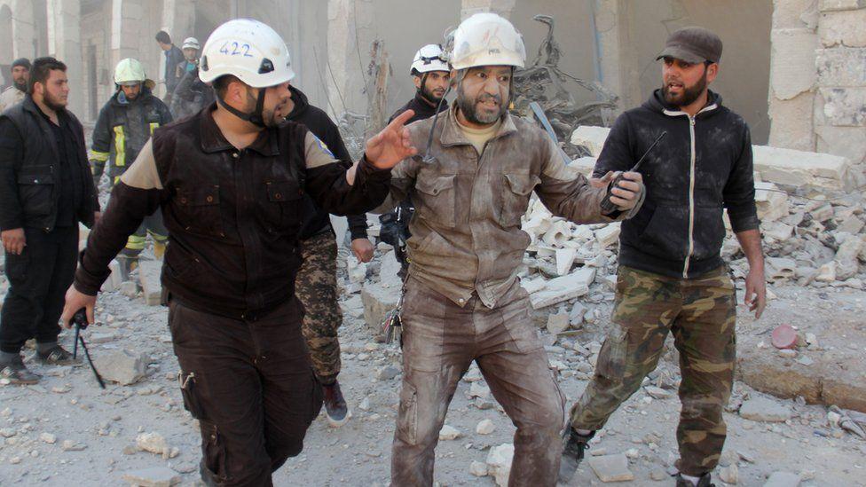 White Helmet volunteers respond