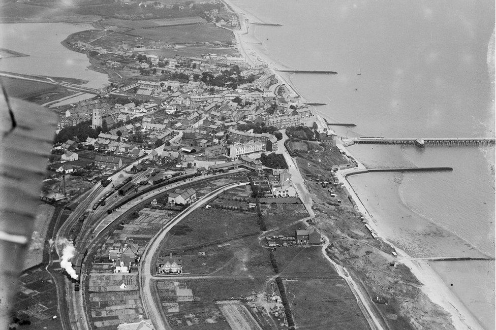 An aerial view of Walton-on-the-Naze and the Tendring Hundred Railway, Essex, taken in June 1920