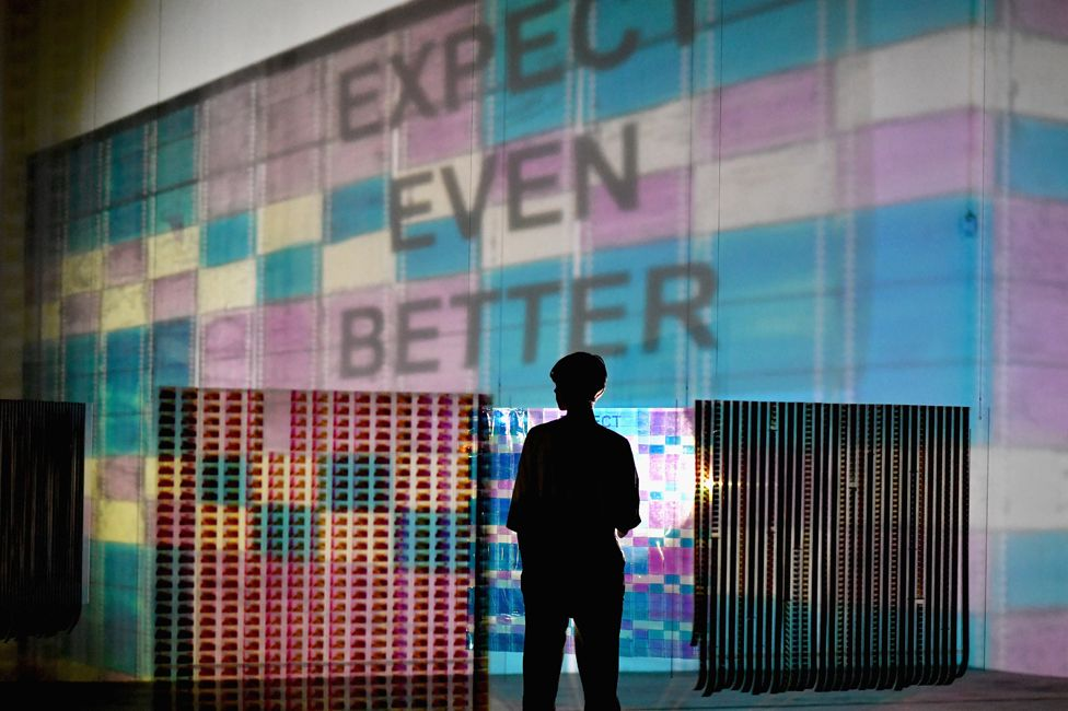 Flagship Filmstrip Projections by artist Jenifer West at the Tramway theatre