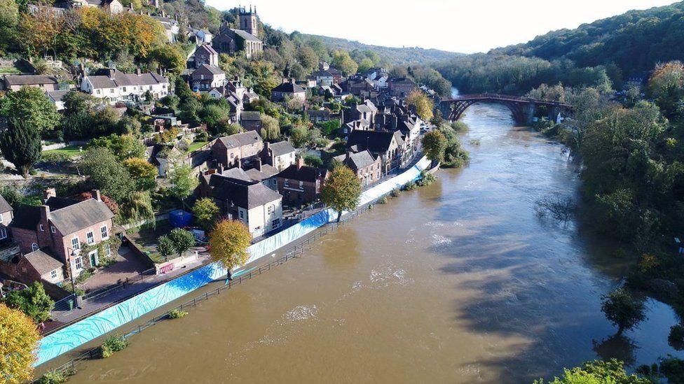 High river levels in Ironbridge, Shropshire