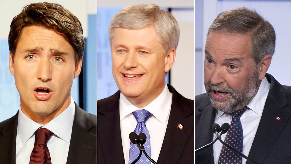 Justin Trudeau, Stephen Harper and Tom Mulcair