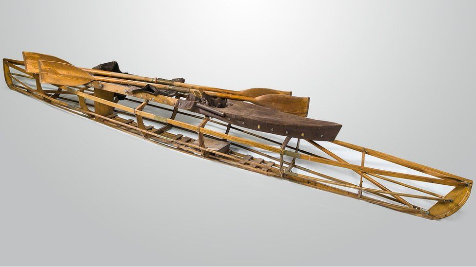 The kayak used for the crossing