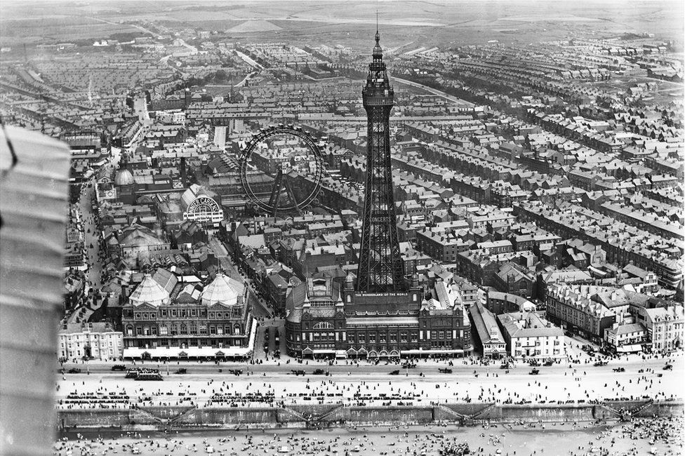 An aerial view of Blackpool Tower and the Winter Gardens in Blackpool, Lancashire, taken in July 1920