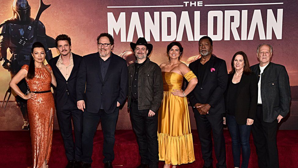 "The premiere of Lucasfilm's first-ever, live-action series, ""The Mandalorian,"" at the El Capitan Theatre in Hollywood, Calif. on November 13, 2019. ""The Mandalorian"" streams exclusively on Disney+."