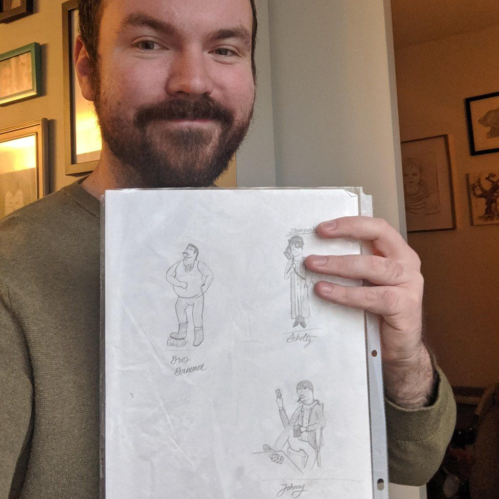 James Kunert-Graf with his original sketch, including Johnny Fiveaces