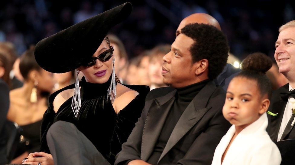 Blue Ivy with her parents at the 2018 Grammy Awards
