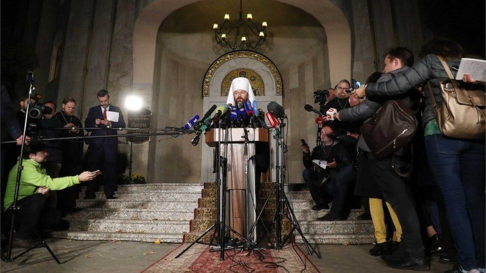 Metropolitan Hilarion, head of the external relations department of the Moscow Patriarchate at a news conference in Belarus, 15 October 2018