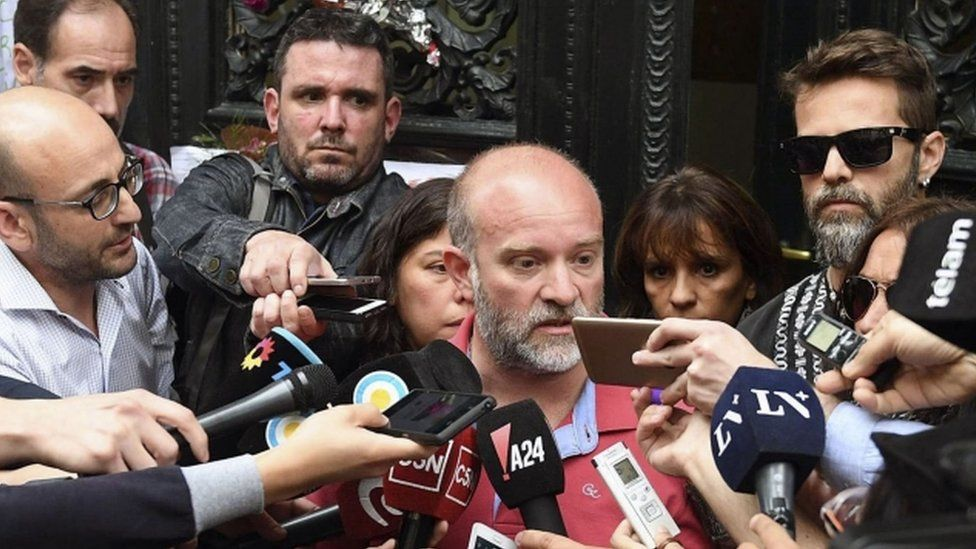 Sergio Maldonado (C) brother of Santiago Maldonado talks to the media to confirm the identity of the corpse found in a river in southern Argentina is that of Santiago
