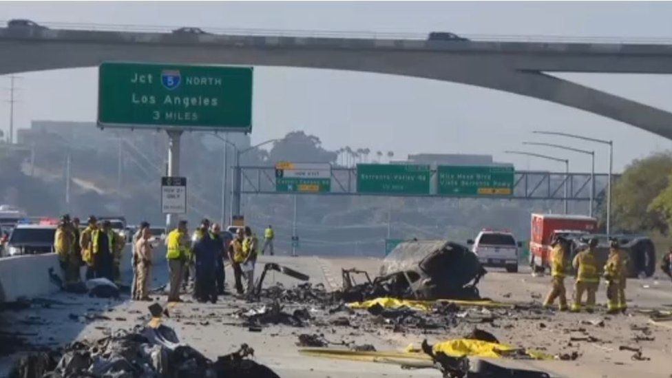 Video grab showing crash scene at Interstate 805 crash