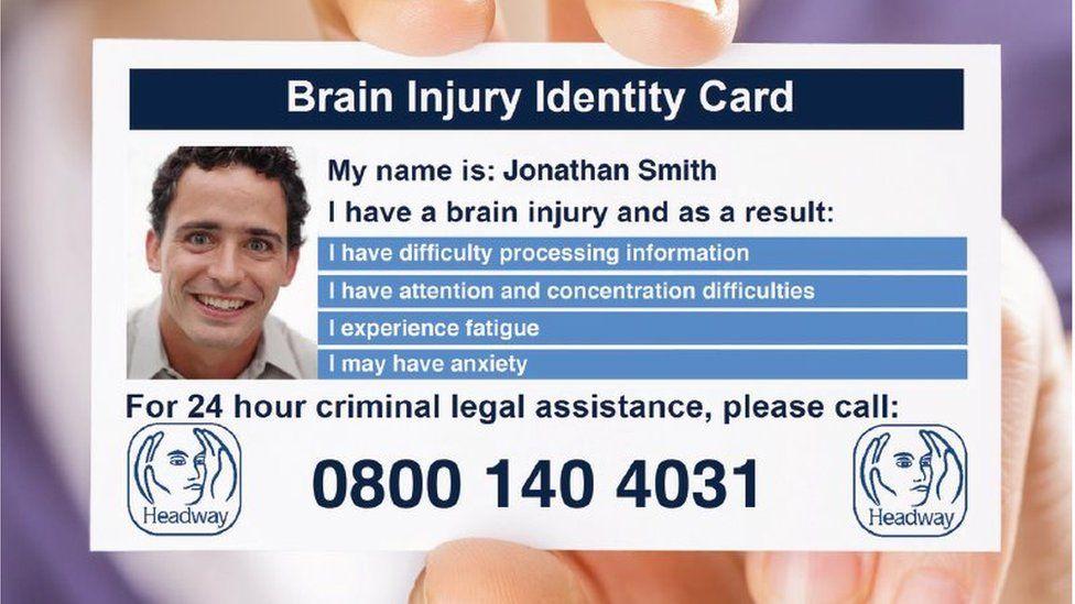 Mocked up Headway Brain Injury Identity Card