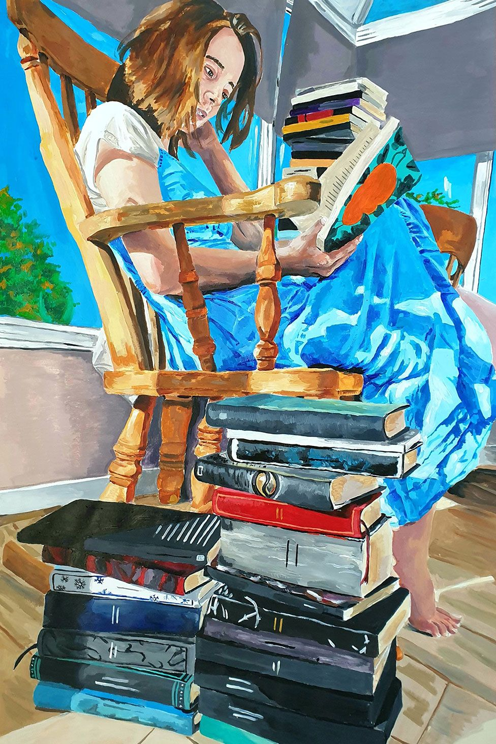 A painting of girl reading a book whilst surrounded by books