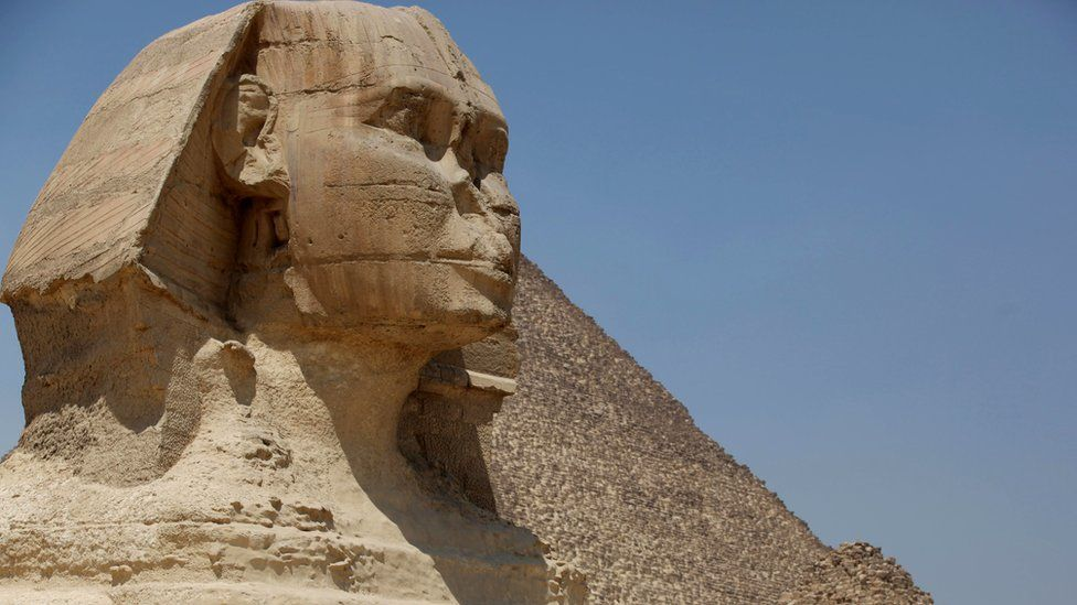 Great Sphinx at the historical site of the Giza Pyramids, near Cairo