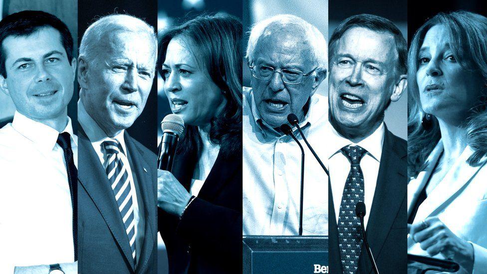Buttigeig, Biden, Harris, Sanders, Hickenlooper and Williamson