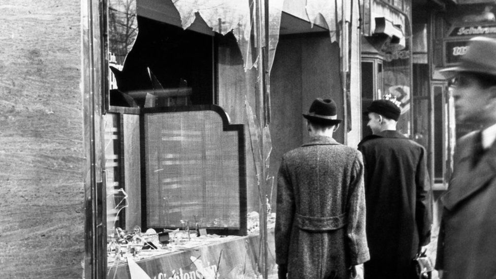 Businesses and properties owned by Jews were the target of vicious Nazi mobs during a night of vandalism that is known as 'Kristallnacht'
