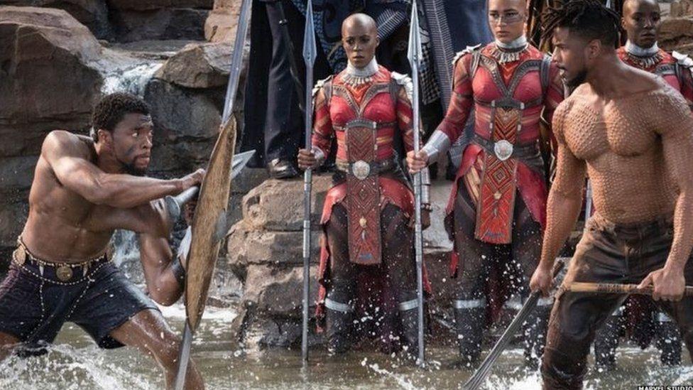 Chadwick Boseman prepares to battle Michael B. Jordan for the throne